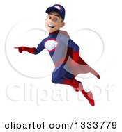 Clipart Of A 3d Young White Male Super Hero Mechanic In Red And Dark Blue Flying And Pointing Royalty Free Illustration