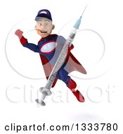 Clipart Of A 3d Young White Male Super Hero Mechanic In Red And Dark Blue Flying And Holding A Giant Vaccine Syringe Royalty Free Illustration