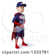Clipart Of A 3d Young White Male Super Hero Mechanic In Red And Dark Blue Facing Right And Holding A Wrench Royalty Free Illustration