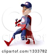 Clipart Of A 3d Young White Male Super Hero Mechanic In Red And Dark Blue Holding A Wrench And Speed Walking To The Left Royalty Free Illustration