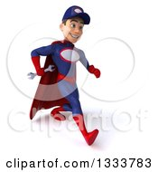 Clipart Of A 3d Young White Male Super Hero Mechanic In Red And Dark Blue Holding A Wrench And Speed Walking Slightly To The Right Royalty Free Illustration
