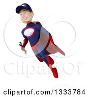 Clipart Of A 3d Young White Male Super Hero Mechanic In Red And Dark Blue Flying With A Wrench Royalty Free Illustration