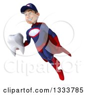 Clipart Of A 3d Young White Male Super Hero Mechanic In Red And Dark Blue Flying With A Tooth Royalty Free Illustration