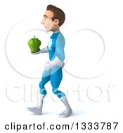 Clipart Of A 3d Young White Male Super Hero In A Light Blue Suit Walking To The Left With A Green Bell Pepper Royalty Free Illustration