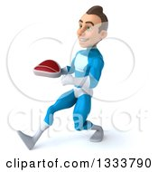 Clipart Of A 3d Young White Male Super Hero In A Light Blue Suit Speed Walking To The Left And Holding A Beef Steak Royalty Free Illustration