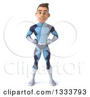 Clipart Of A 3d Young Brunette White Male Super Hero In A Dark Blue Suit Hands On His Hips Royalty Free Illustration by Julos