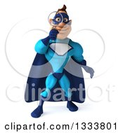 Clipart Of A 3d Caucasian Blue Male Super Hero Searching With A Magnifying Glass 2 Royalty Free Illustration