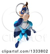 Clipart Of A 3d Caucasian Blue Male Super Hero Looking Up Searching With A Magnifying Glass Royalty Free Illustration