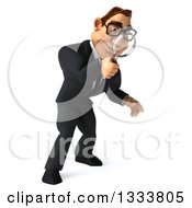 Clipart Of A 3d Bespectacled Macho White Businessman Facing Right Looking Down And Searching With A Magnifying Glass Royalty Free Illustration by Julos