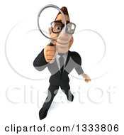 Clipart Of A 3d Bespectacled Macho White Businessman Looking Up And Searching With A Magnifying Glass 2 Royalty Free Illustration