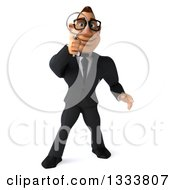 Clipart Of A 3d Bespectacled Macho White Businessman Searching With A Magnifying Glass Royalty Free Illustration by Julos