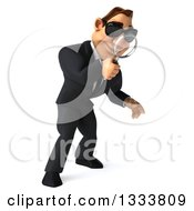 Clipart Of A 3d Macho White Businessman Wearing Sunglasses Facing Right Looking Down And Searching With A Magnifying Glass Royalty Free Illustration by Julos