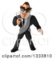 Clipart Of A 3d Macho White Businessman Wearing Sunglasses Looking Down And Searching With A Magnifying Glass Royalty Free Illustration by Julos