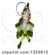 Clipart Of A 3d Caucasian Green Super Hero Man Looking Up And Searching With A Magnifying Glass Royalty Free Illustration by Julos