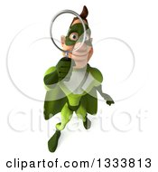 Clipart Of A 3d Caucasian Green Super Hero Man Looking Up And Searching With A Magnifying Glass 2 Royalty Free Illustration by Julos