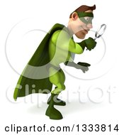 Clipart Of A 3d Caucasian Green Super Hero Man Facing Right Looking Down And Searching With A Magnifying Glass Royalty Free Illustration by Julos