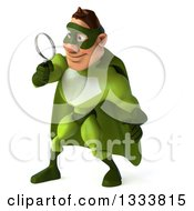 Clipart Of A 3d Caucasian Green Super Hero Man Facing Left Looking Down And Searching With A Magnifying Glass Royalty Free Illustration by Julos