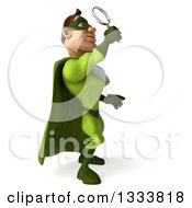 Clipart Of A 3d Caucasian Green Super Hero Man Facing Right Looking Up And Searching With A Magnifying Glass Royalty Free Illustration by Julos