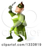 Clipart Of A 3d Caucasian Green Super Hero Man Facing Left Looking Up And Searching With A Magnifying Glass Royalty Free Illustration by Julos