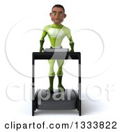 Clipart Of A 3d Young Black Male Super Hero In A Green Suit Walking On A Treadmill Royalty Free Illustration