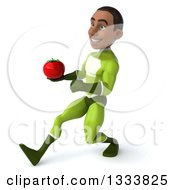 Clipart Of A 3d Young Black Male Super Hero In A Green Suit Speed Walking To The Left And Holding A Tomato Royalty Free Illustration
