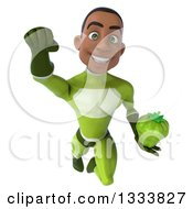 Clipart Of A 3d Young Black Male Super Hero In A Green Suit Flying And Holding A Green Bell Pepper Royalty Free Illustration