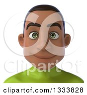 Clipart Of A 3d Avatar Of A Young Black Male Super Hero In A Green Suit Royalty Free Illustration