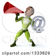 Clipart Of A 3d Young Black Male Super Hero In A Green Suit Holding An Email Arobase At Symbol And Megaphone Royalty Free Illustration