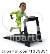 Clipart Of A 3d Young Black Male Super Hero In A Green Suit Facing Slightly Right And Sprinting On A Treadmill Royalty Free Illustration