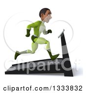 Clipart Of A 3d Young Black Male Super Hero In A Green Suit Facing Right And Sprinting On A Treadmill Royalty Free Illustration