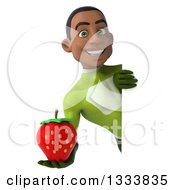 Clipart Of A 3d Young Black Male Super Hero In A Green Suit Holding A Strawberry Around A Sign Royalty Free Illustration
