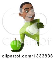 Clipart Of A 3d Young Black Male Super Hero In A Green Suit Holding A Green Apple And Looking Around A Sign Royalty Free Illustration