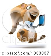 Clipart Of A 3d Doctor Or Veterinarian Squirrel Facing Slightly Right Jumping And Holding A Smart Phone Royalty Free Illustration by Julos