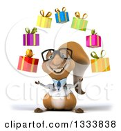 Clipart Of A 3d Bespectacled Doctor Or Veterinarian Squirrel Juggling Gifts Royalty Free Illustration by Julos