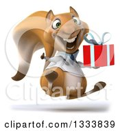 Clipart Of A 3d Doctor Or Veterinarian Squirrel Facing Slightly Right Jumping Giving A Thumb Up And Holding A Gift Royalty Free Illustration by Julos