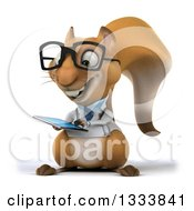 Clipart Of A 3d Bespectacled Doctor Or Veterinarian Squirrel Facing Slightly Left And Using A Tablet Computer Royalty Free Illustration by Julos