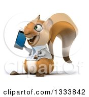 Clipart Of A 3d Doctor Or Veterinarian Squirrel Facing Slightly Left And Talking On A Smart Phone Royalty Free Illustration