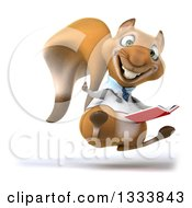 Clipart Of A 3d Doctor Or Veterinarian Squirrel Facing Slightly Right Jumping Giving A Thumb Up And Holding A Book Royalty Free Illustration by Julos