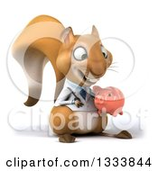 Clipart Of A 3d Doctor Or Veterinarian Squirrel Facing Slightly Right Holding And Looking At A Piggy Bank Royalty Free Illustration by Julos