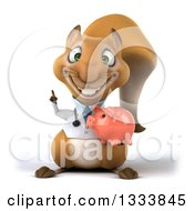 Clipart Of A 3d Doctor Or Veterinarian Squirrel Holding Up A Finger And A Piggy Bank Royalty Free Illustration by Julos