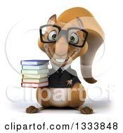 Clipart Of A 3d Bespectacled Business Squirrel Holding A Stack Of Books Royalty Free Illustration