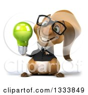 Clipart Of A 3d Bespectacled Business Squirrel Holding And Pointing To A Green Light Bulb Royalty Free Illustration