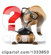 Clipart Of A 3d Bespectacled Business Squirrel Holding A Question Mark Royalty Free Illustration