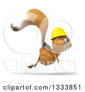Clipart Of A 3d Contractor Squirrel Wearing A Hardhat And Hopping To The Right Royalty Free Illustration by Julos