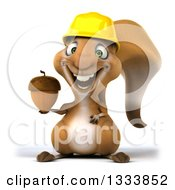 Clipart Of A 3d Contractor Squirrel Wearing A Hardhat And Holding An Acorn Royalty Free Illustration