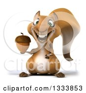 Clipart Of A 3d Squirrel Holding An Acorn Royalty Free Illustration by Julos
