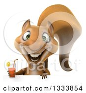 Clipart Of A 3d Squirrel Holding An Iced Tea Over A Sign Royalty Free Illustration