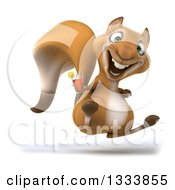 Poster, Art Print Of 3d Squirrel Facing Slightly Right Jumping And Holding An Iced Tea