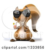 Clipart Of A 3d Squirrel Wearing Sunglasses And Holding An Iced Tea Royalty Free Illustration