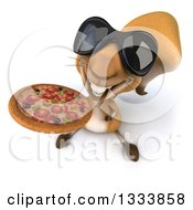 Clipart Of A 3d Squirrel Wearing Sunglasses And Holding Up A Pizza Royalty Free Illustration